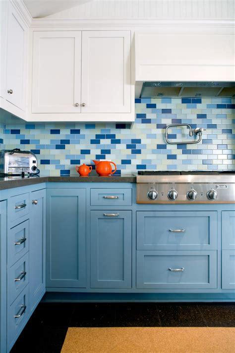 chic blue kitchen  subway tile backsplash  cork