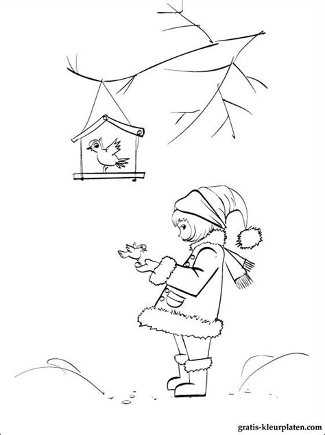 Kleurplaat Vogels In De Winter by Winter Vogels Kleurplaat Gratis Kleurplaten