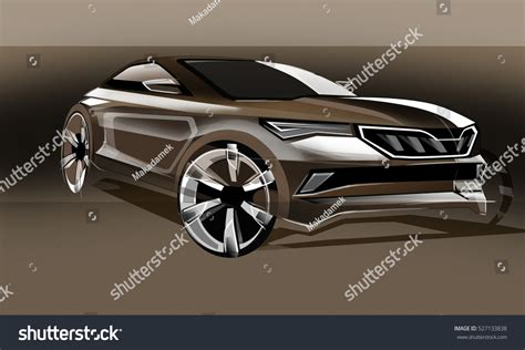 Design Sporty Exterior Car Brown Drawing Stock