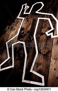 Stock Photography of Dead man outline on floor - Crime ...
