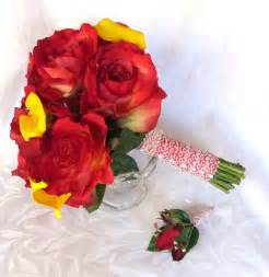 Yellow and Red Roses Wedding Bouquets