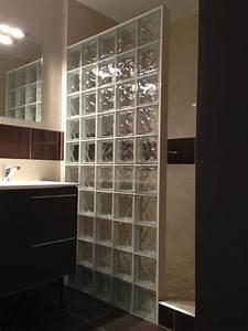 beau carreaux de verre salle de bain avec cuisine cloison With douche avec carreaux de verre