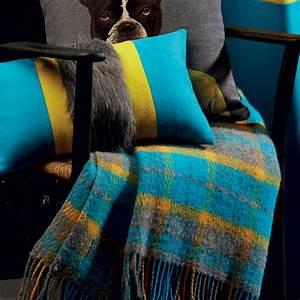 Plaid Jaune Et Gris : plaid haut de gamme cossais gris jaune bleu pur laine ~ Teatrodelosmanantiales.com Idées de Décoration