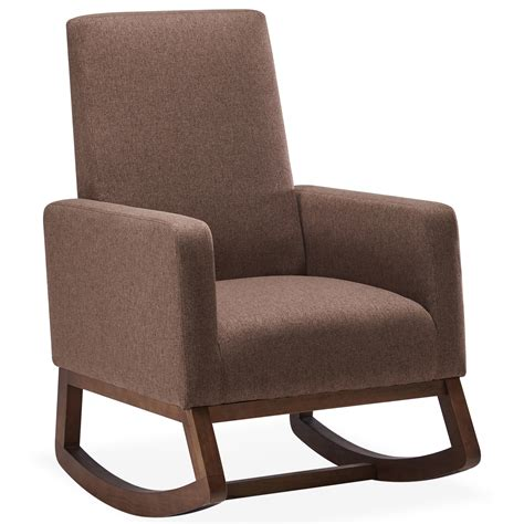 Very comfortable, and great looking from all sides! BELLEZE Modern Rocking Chair Upholstered Fabric/ Faux ...