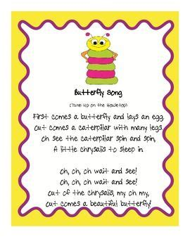 Song Butterfly Butterfly Song Fluency Activities Music Pinterest