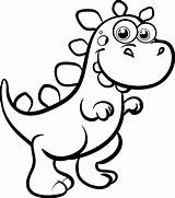 Coloring Pages Easy Dinosaur Cute Dinosaurs Baby Popular sketch template