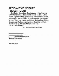 Affidavit of notary presentment template 10 03 08 for Notary presentment template