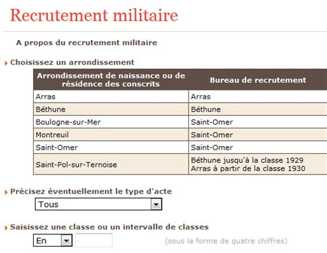 bureau de recrutement militaire genealo 59 62 02 b projet genealo indexation des