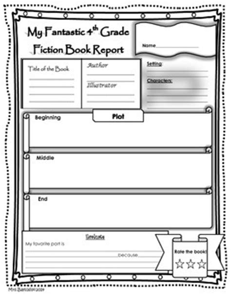 Book Report Template For 2nd Grade by Book Report Fiction And Non Fiction 4th Grade By