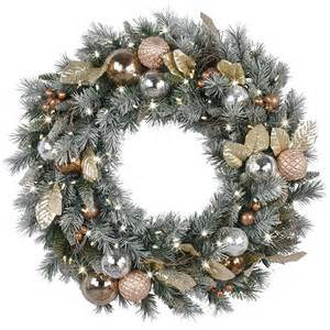 shop ge 30 in pre lit battery operated copper mixed pine artificial christmas wreath with warm