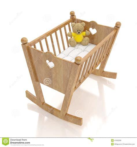 culla di legno bambino con il giocattolo dell orso
