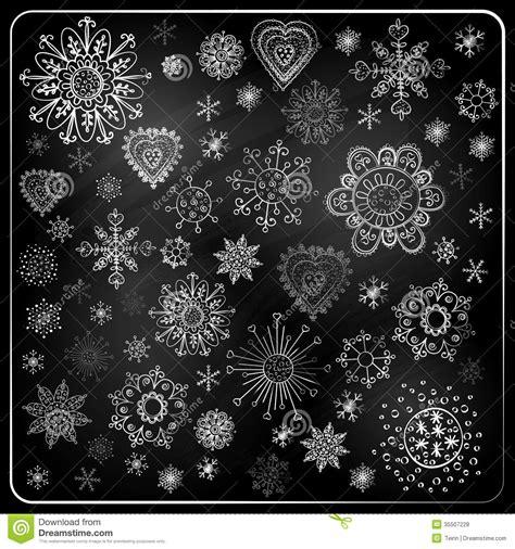 set  snowflakes chalkboard texture stock vector