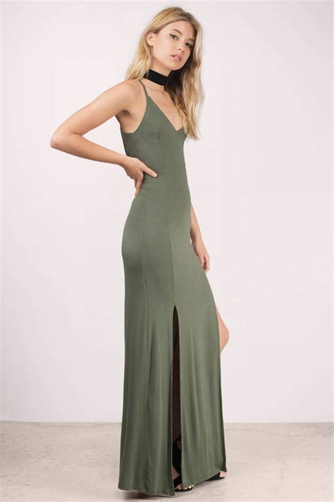 olive dress side slit dress pewter dress