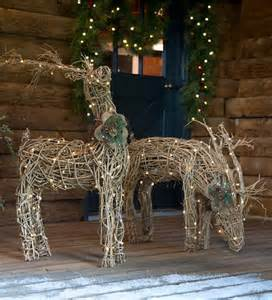 lighted rattan reindeer outdoor holiday decorating