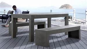 beliani dinning beton set concrete table ans 2 benches With table beton cire exterieur