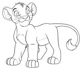 Lion King Simba Cub Outline Drawing