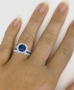 cushion cut blue sapphire and diamond halo engagement ring With halo engagement ring and wedding band