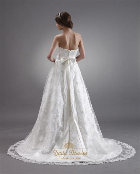 ivory lace sweetheart strapless wedding dresses