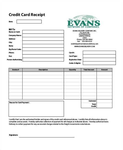 credit card receipt templates