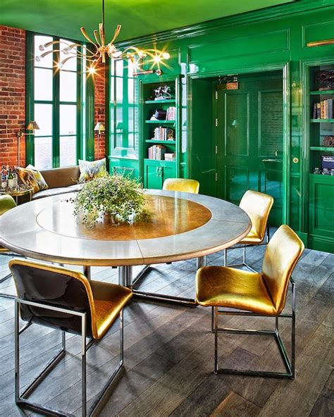 ken and design green lacquered walls eclectic den library office