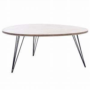 Pied De Table Basse Metal : table basse ronde 90cm en bois et pieds m tal coloris bois maison et styles ~ Teatrodelosmanantiales.com Idées de Décoration