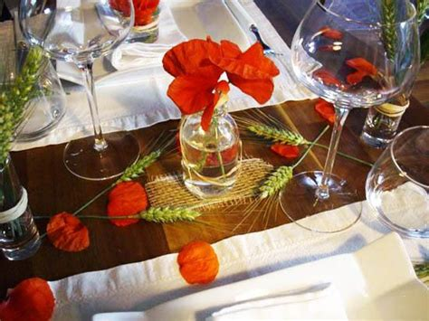 floral table decorations  centerpieces table decor  red poppies