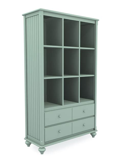 Tall Wide Cottage Cubbie Bookcase With Two Drawers