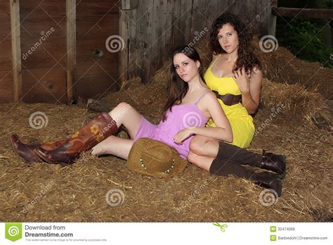 Country Girls In A Barn Stock Photo. Image Of Boots, Bales
