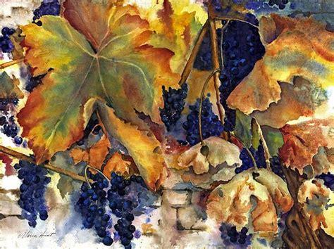 watercolor  fall leaves  blue grapes  began