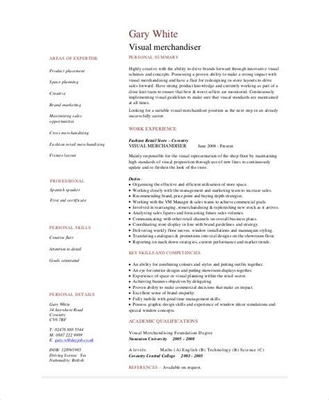 Visual Merchandiser Resume by Merchandiser Resume Template 7 Free Word Pdf Documents