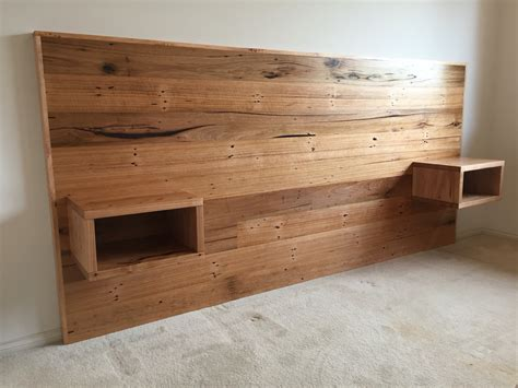 timber bed designs recycled hardwood timber bed head with floating bedsides bedroom furniture pinterest bed