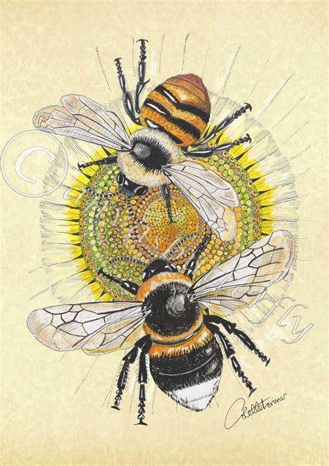 Bee Print Bee Picture Bee Artwork Bee Illustration