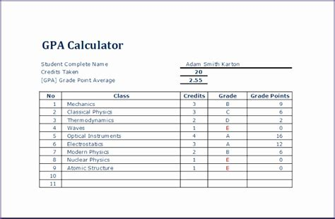 student grade  gpa tracker exceltemplates