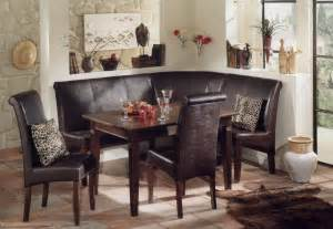 kitchen corner booth set with masculine brown leather