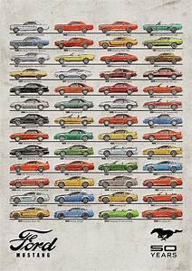 Ford Mustang Timeline History 50 Years Digital Art by Yurdaer Bes