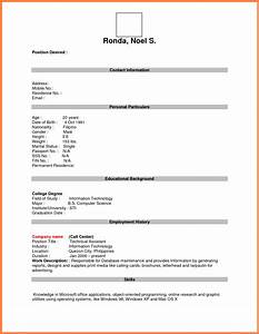 13 blank resume form for job application bussines for Blank resume template