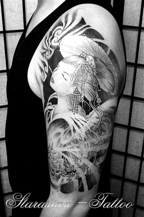 Black n white geisha tattoo design on half sleeve