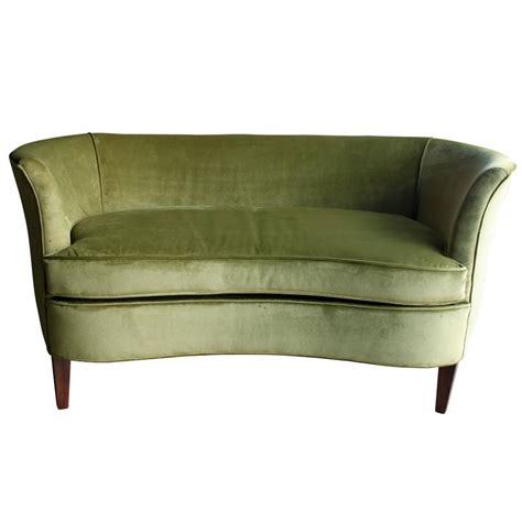 Green Settee by Sculptural 1960s Midcentury Green Velvet Settee At 1stdibs