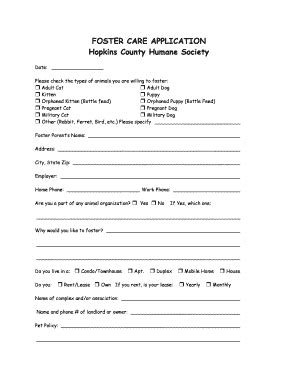 foster care application form hopkins county humane society petfinder fill online