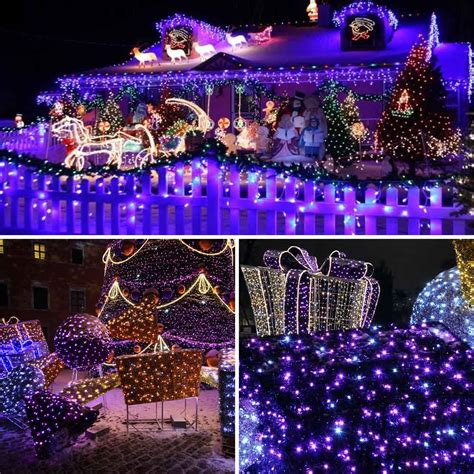 purple color solar christmas lights ft  led  modes