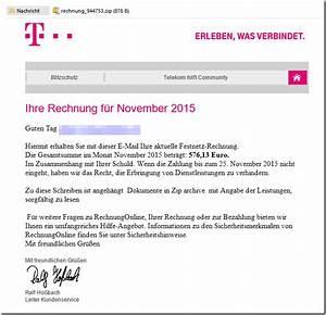In Telegence Gmbh Auf Telekom Rechnung : trojaner warnung e mail mit ihre telekom festnetz rechnung november 2015 mimikama ~ Themetempest.com Abrechnung