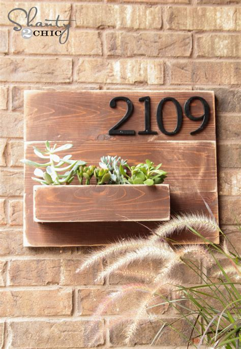 diy address number wall planter shanty  chic
