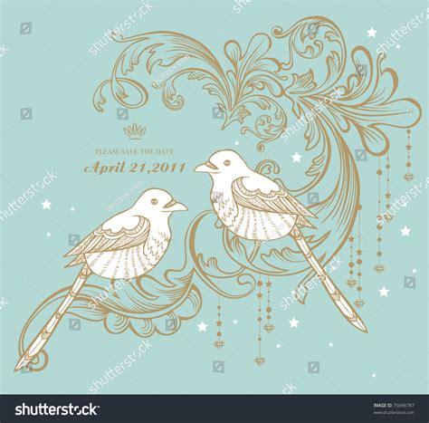 birds vintage card pattern stock vector