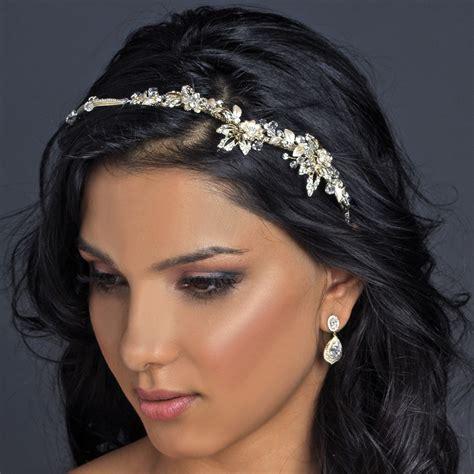 Light Gold Clear Crystal & Rhinestone Floral Side Headband ...