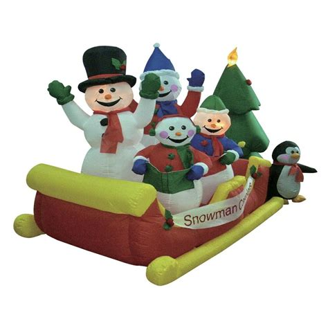 christmas inflatable snowman snowmen sleigh tree outdoor