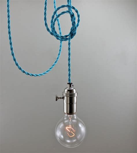 bright blue modern bare bulb pendant light by goldheartsupply