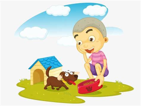 Cartoon Boy Feed Dog, Cartoon, Boy, Feed The Dog Png Image