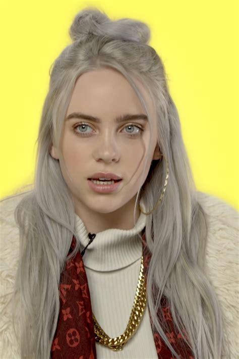 Billie Eilish Wavy Silver Half-Up Half-Down, Uneven Color ...