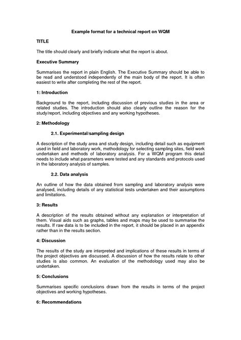 technical report template technical report writing exles bamboodownunder