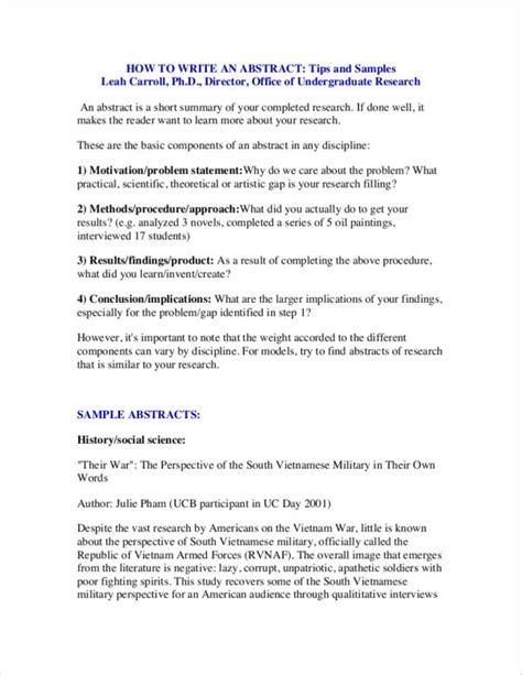 abstract writing samples  templates